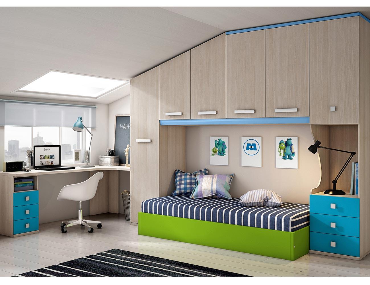 Dormitorio juvenil con puente abuhardillado 13150 Armario puente juvenil