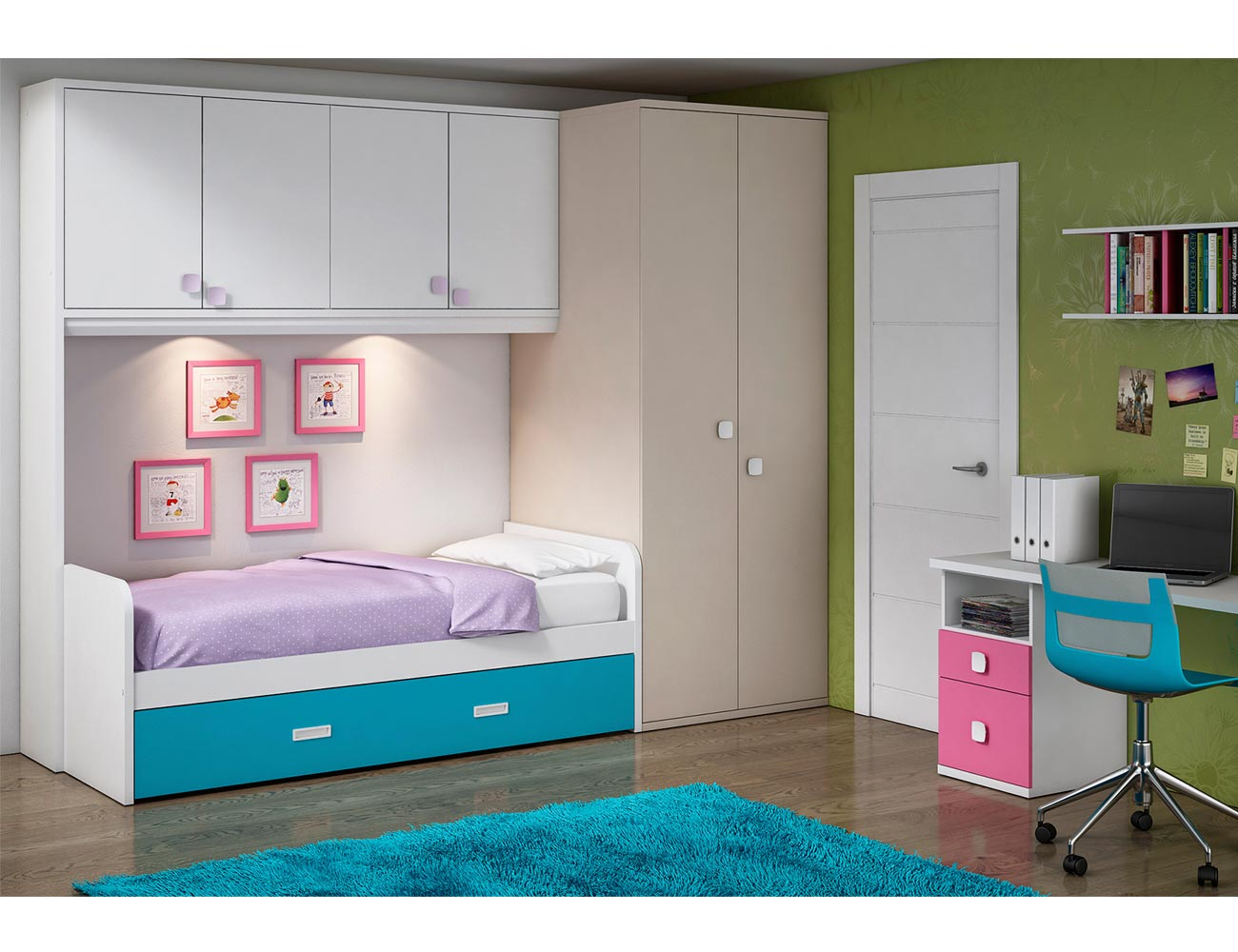 Dormitorio juvenil armario vestidor rincon cama puente estudio