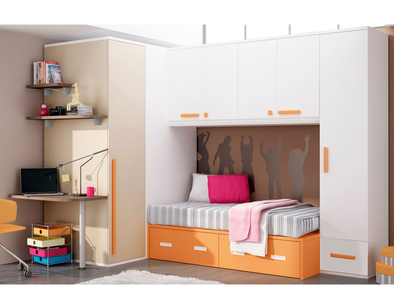 Dormitorio juvenil con armario vestidor y cama puente para for Dormitorios puente juveniles baratos