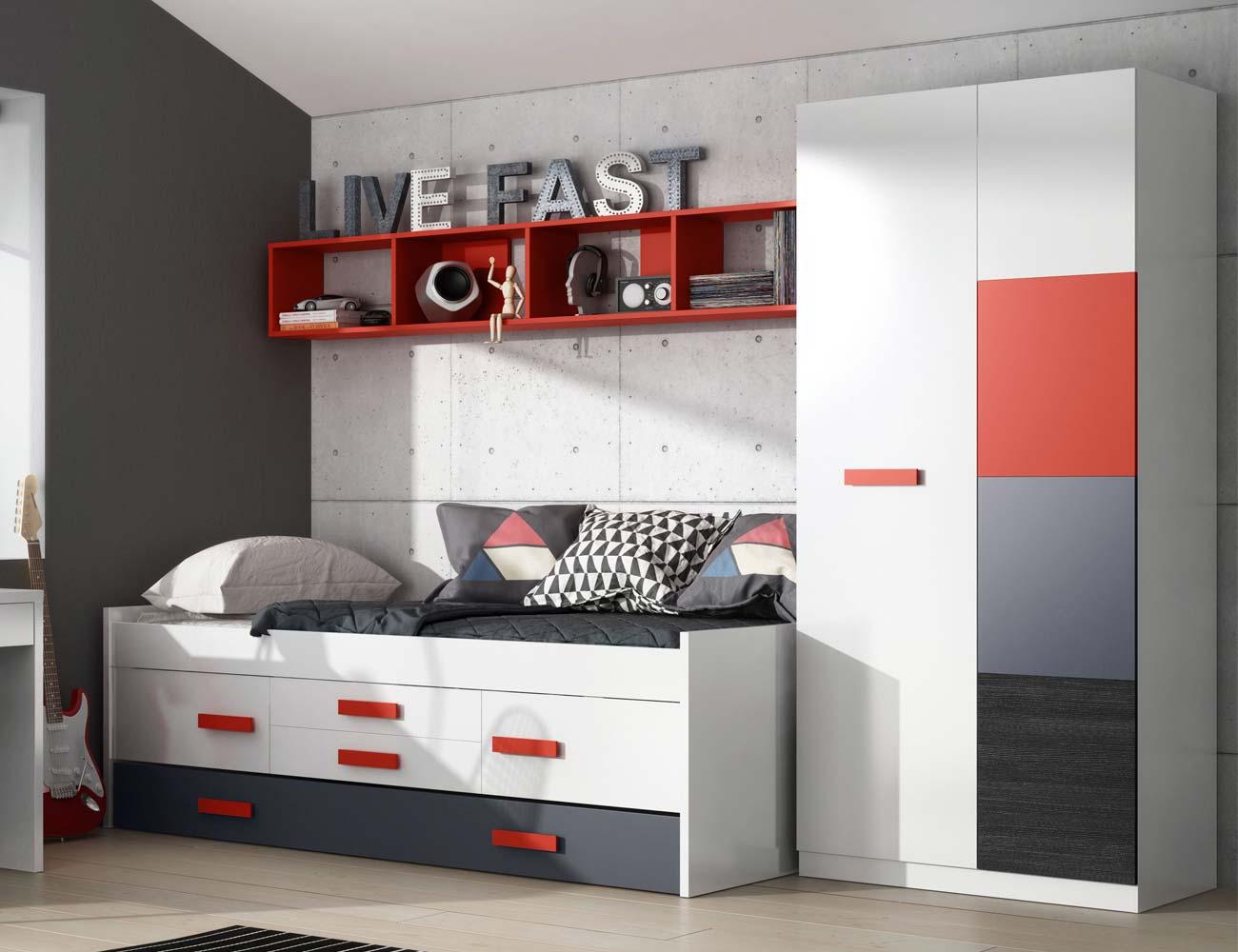 Dormitorio juvenil blanco rojo armario 21