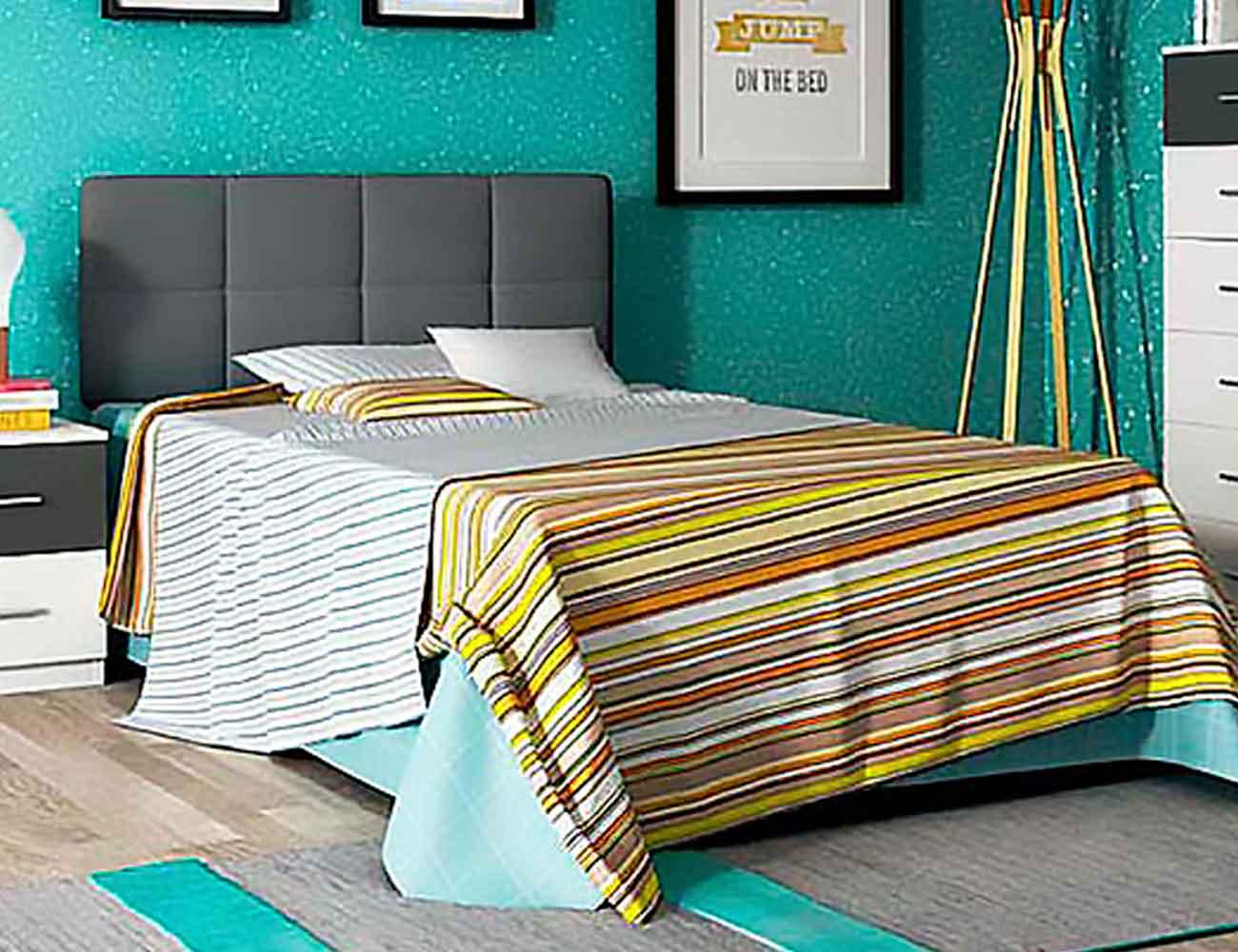 Dormitorio juvenil cabecero tapizado pu