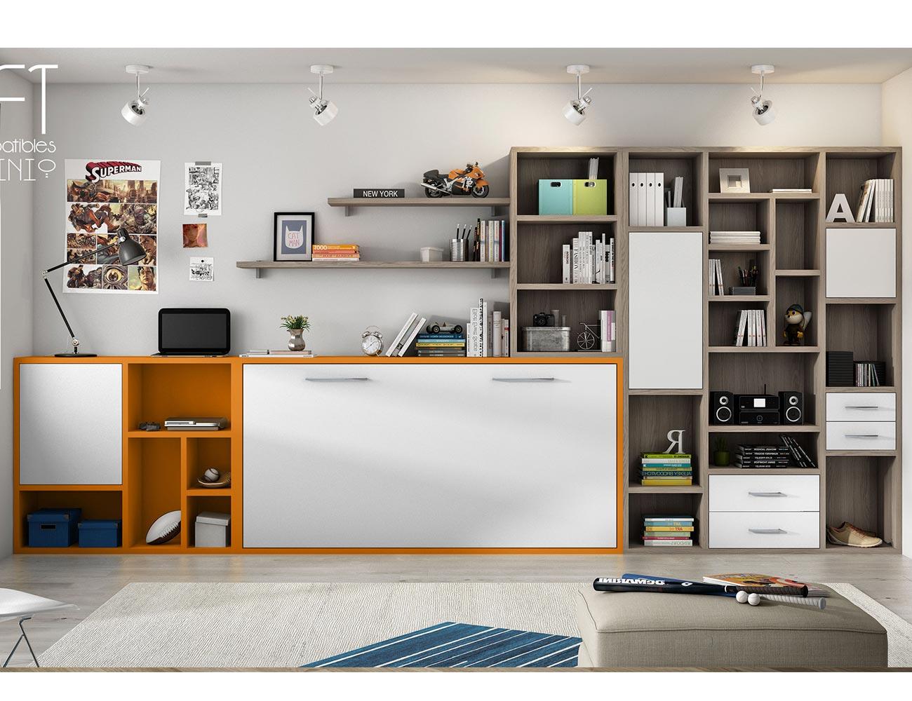 Dormitorio juvenil con cama abatible multifuncional y for Mueble juvenil cama abatible
