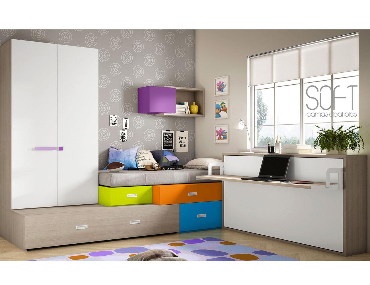 Dormitorio juvenil cama abatible con armario puertas correderas alto escritorio box