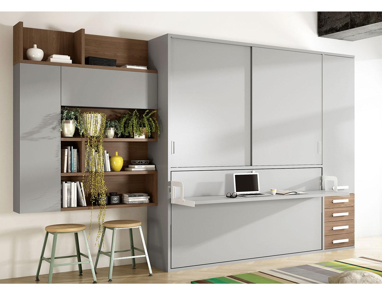 Cama abatible soft con encimera en aluminio y armario alto for Cama juvenil con escritorio