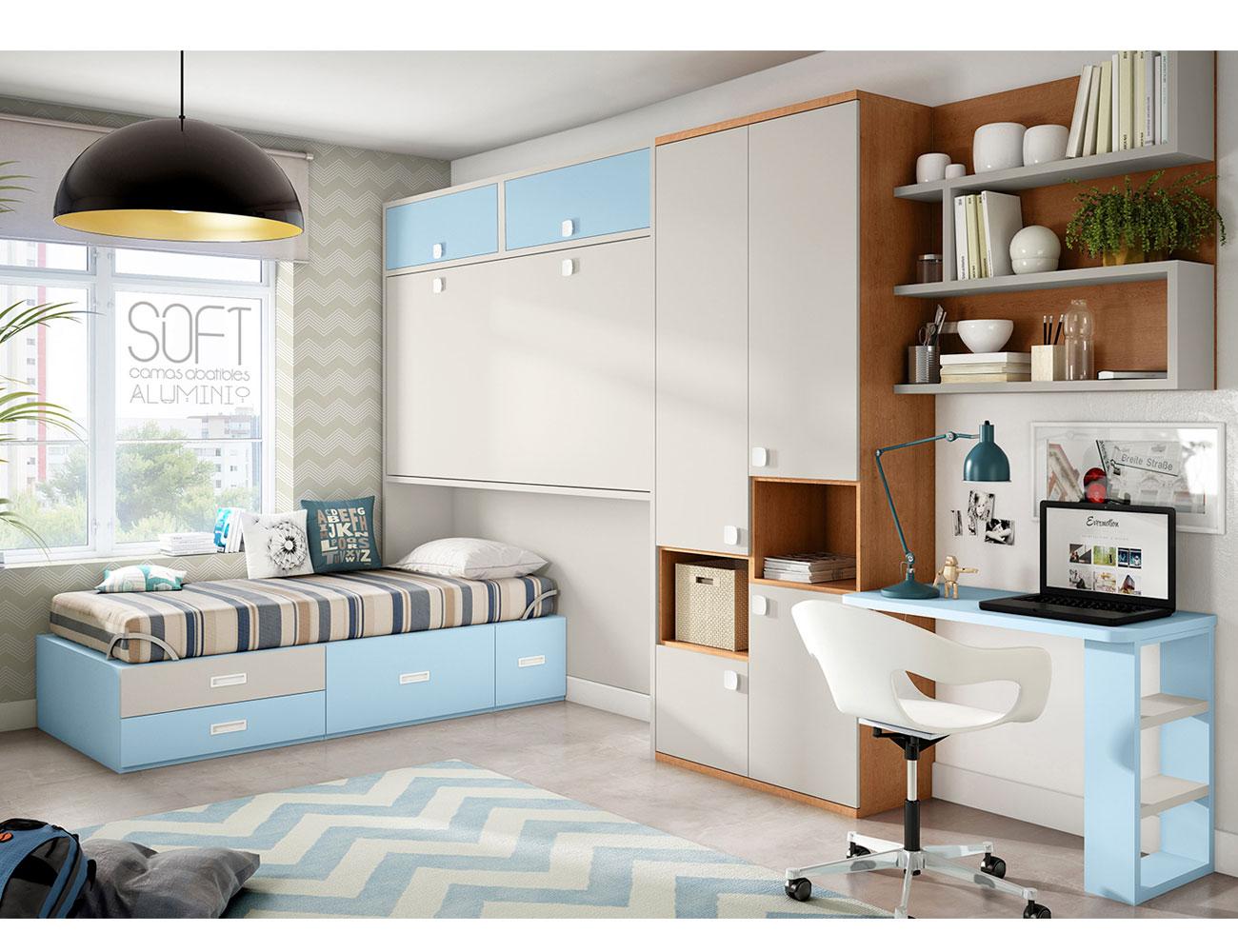 Dormitorio juvenil cama abatible doble altillo ih1001