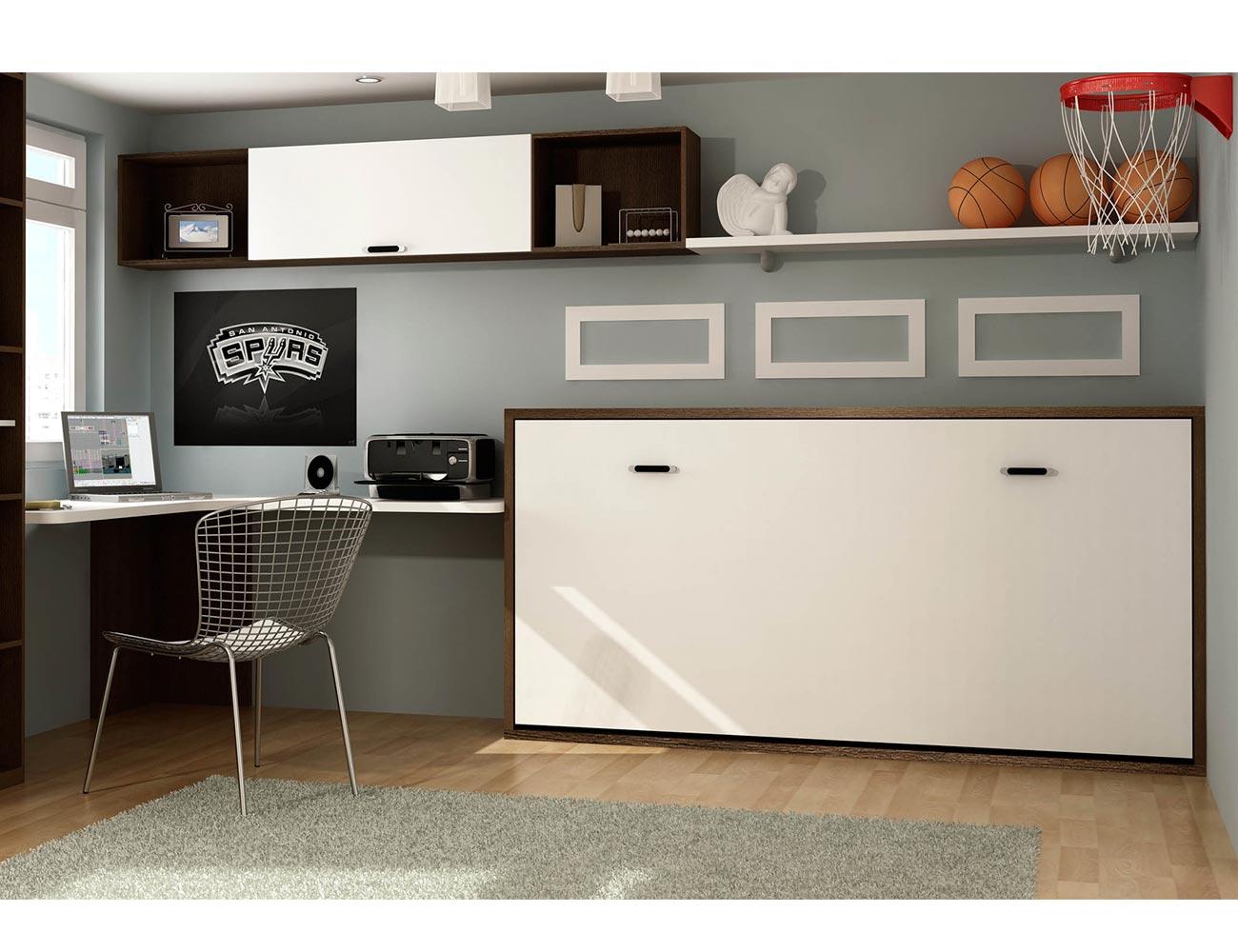 Dormitorio juvenil cama abatible horizontal y escritorio - Habitaciones juveniles camas abatibles horizontales ...