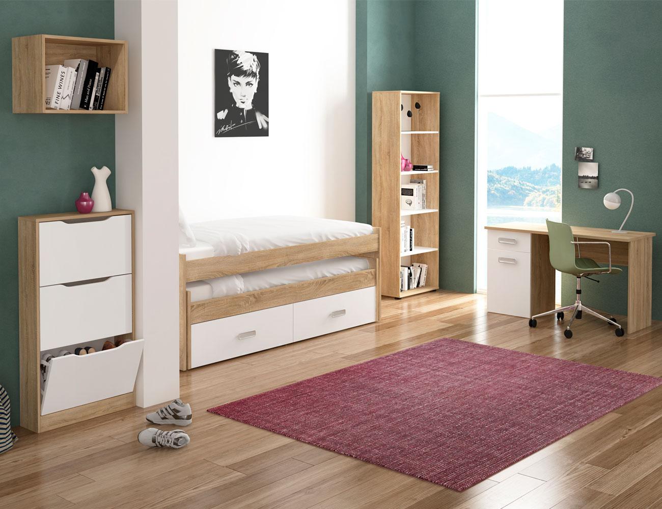 Dormitorio juvenil con cama compacto y con estanteria y for Estanteria zapatero