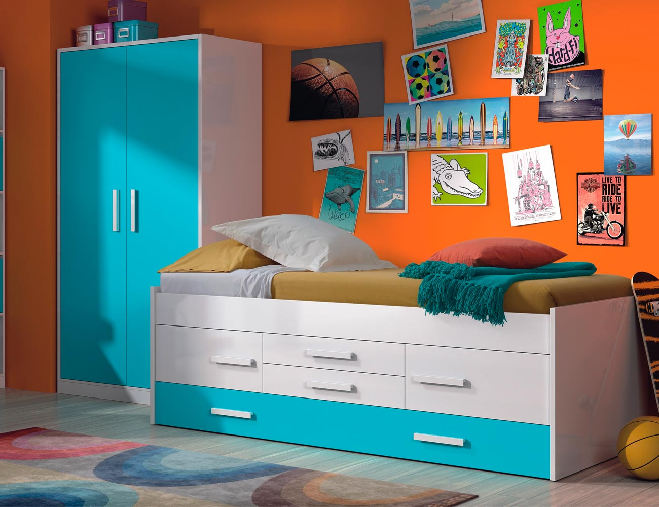 Dormitorio juvenil cama nido armario azul