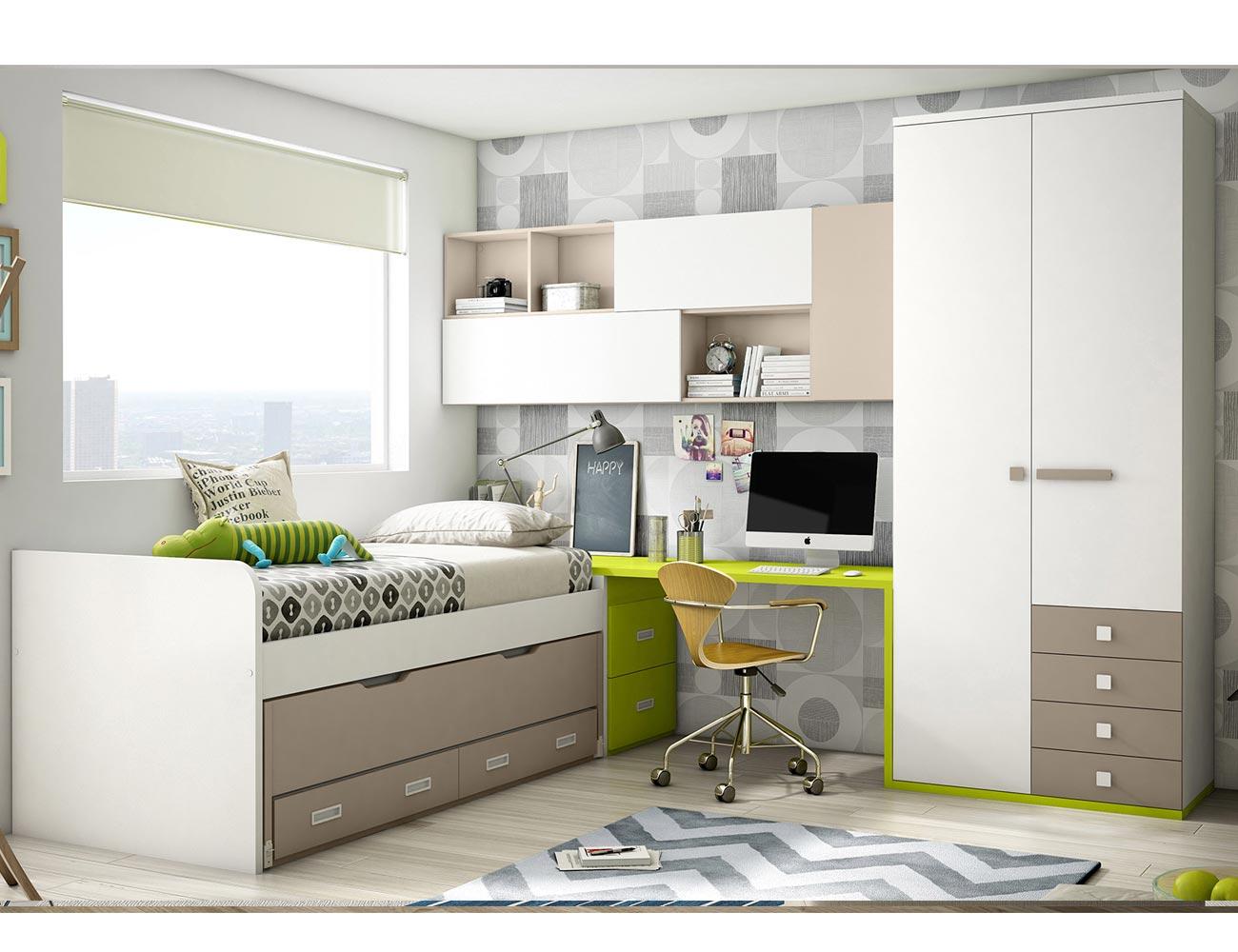 Dormitorio juvenil cama nido armario cajones