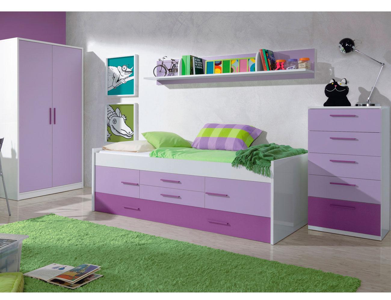 Dormitorio juvenil cama nido armario lila