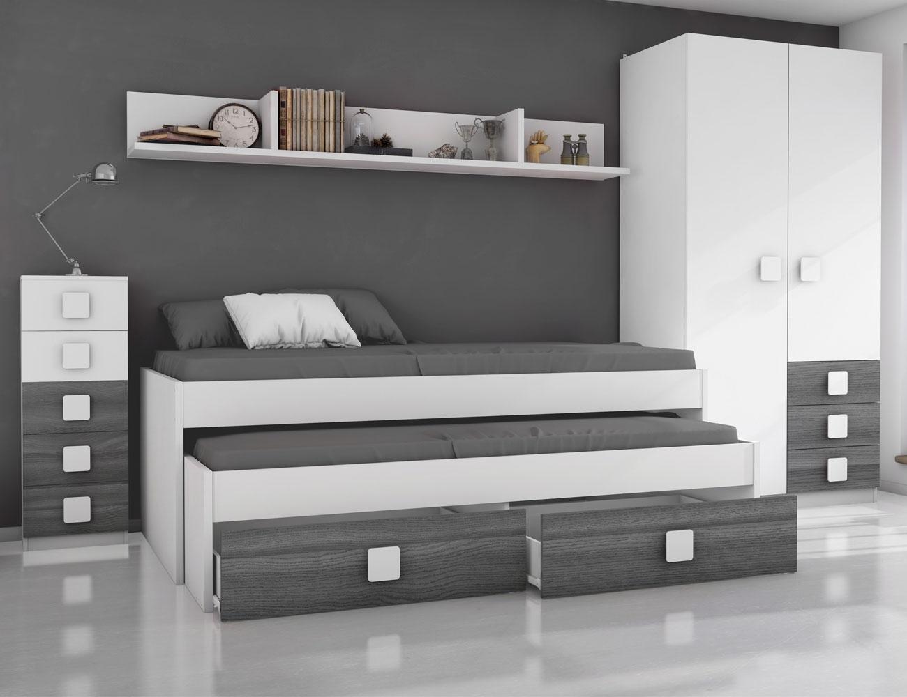 Dormitorio juvenil ceniza blanco1