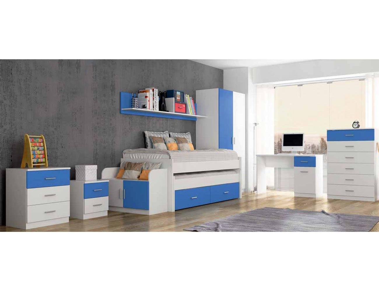 Dormitorio juvenil comodin mesita noche banqueta estanteria cama compacto nido mesa estudio sinfonier armario1