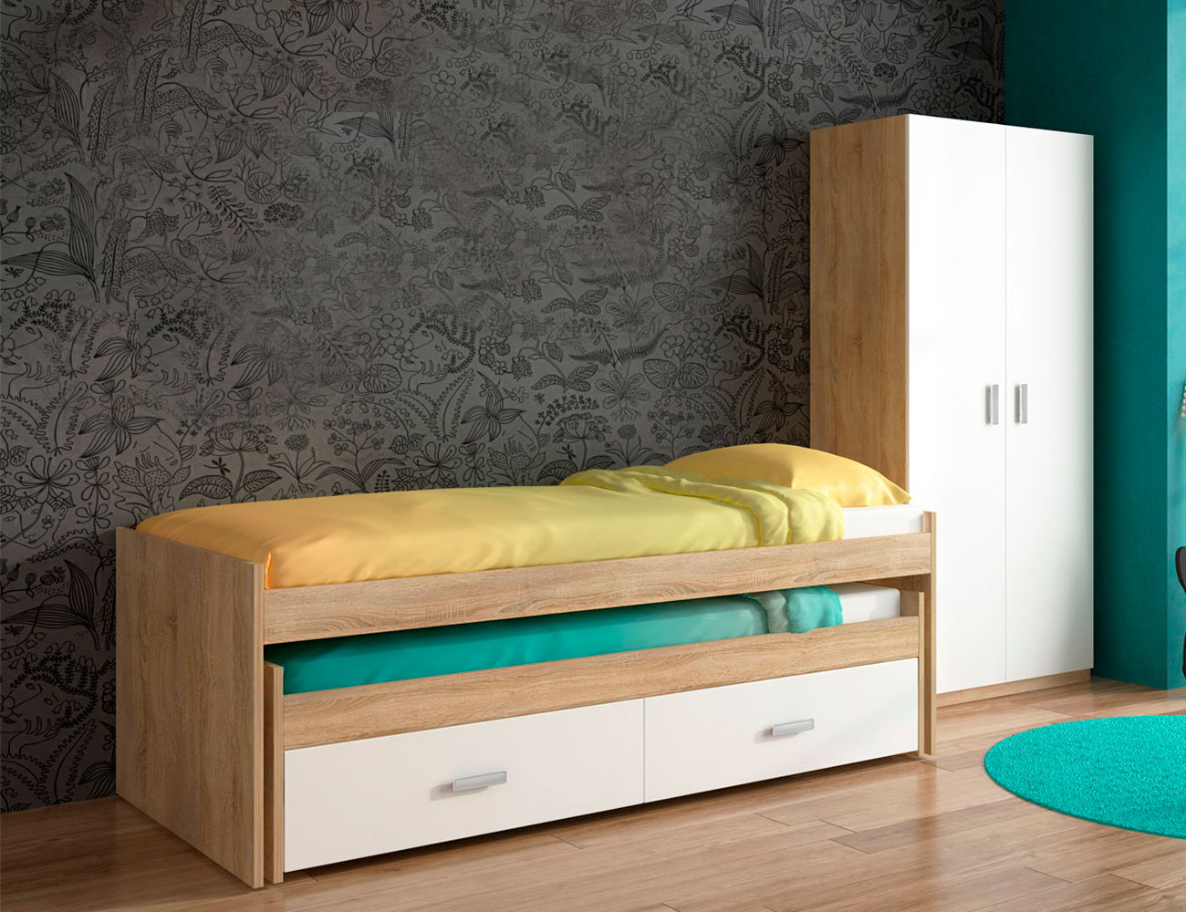 Dormitorio juvenil compacto armario cambrian blanco