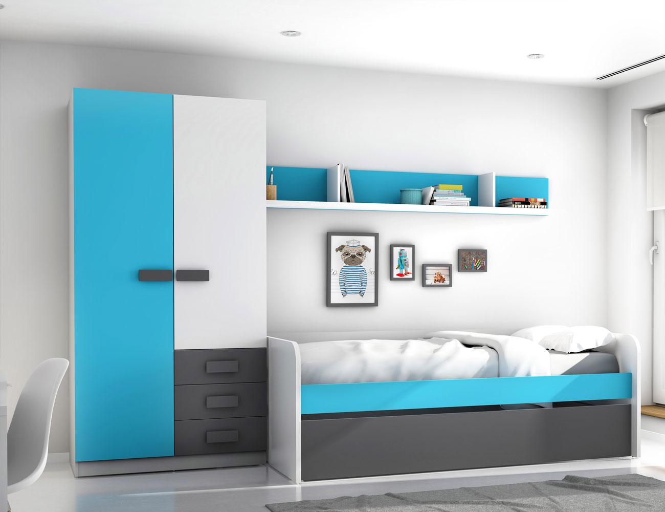 Dormitorio juvenil grafito azul 2