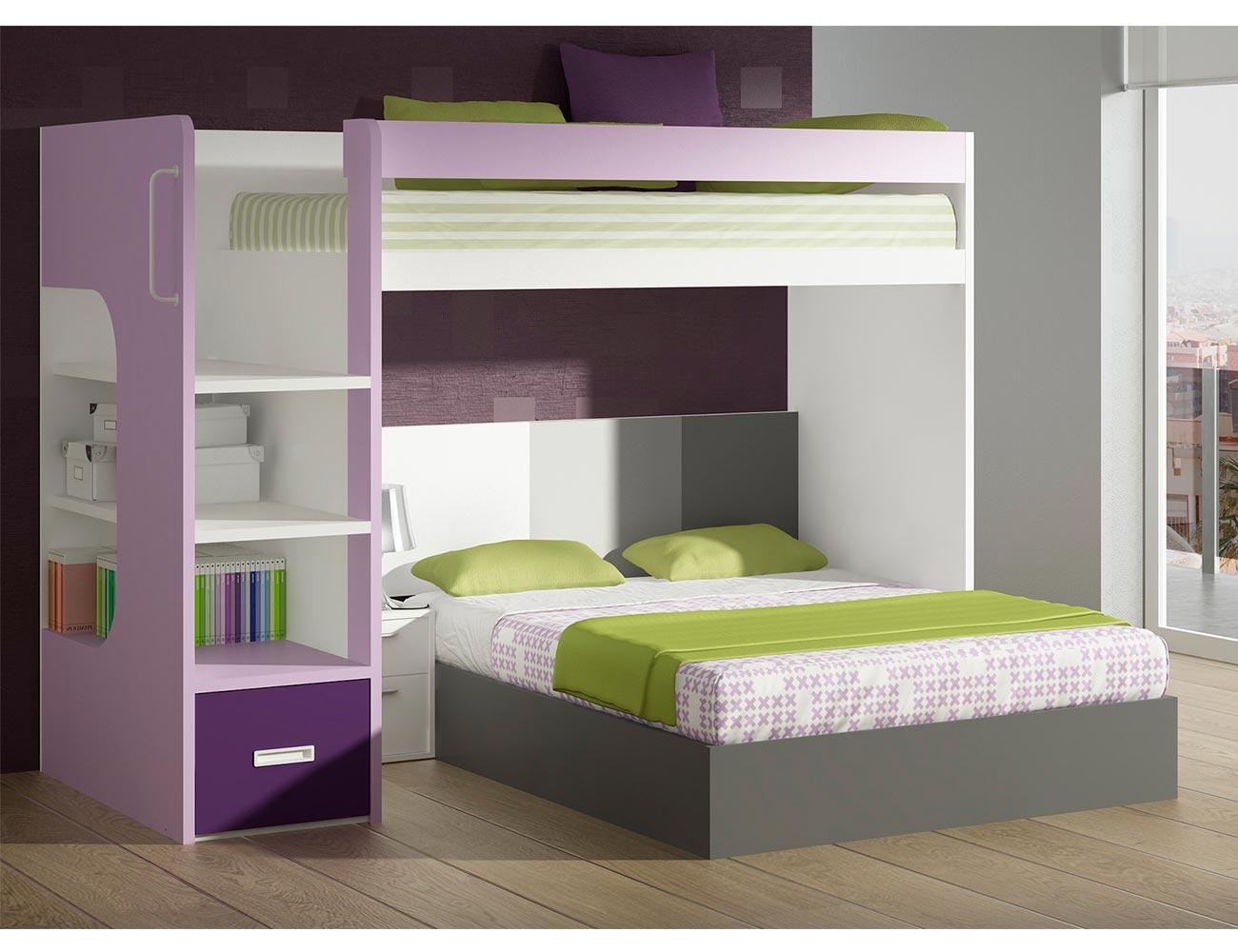 Dormitorio juvenil litera barandilla cama matrimonio