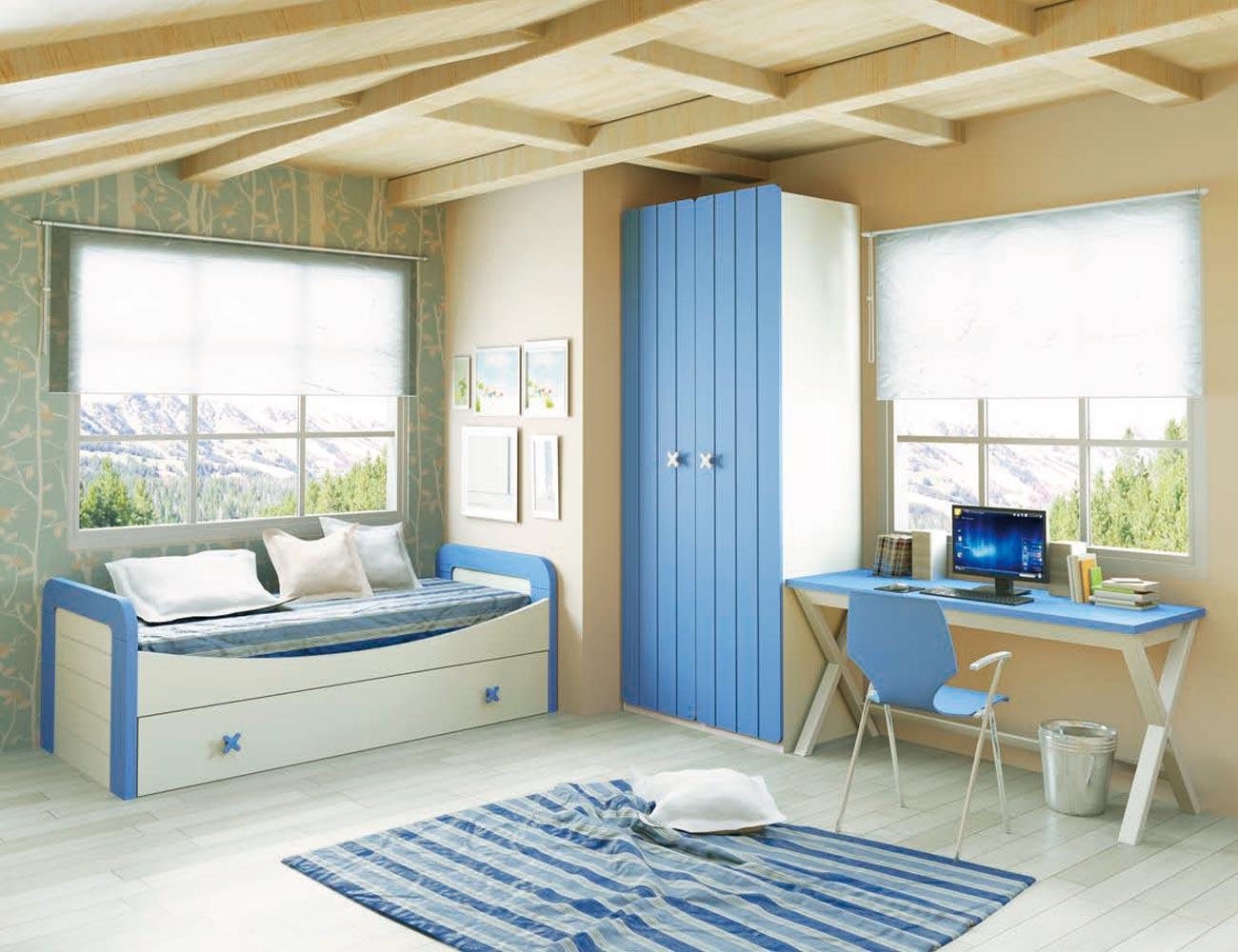 Dormitorio juvenil en madera con cama nido con dos camas - Dormitorio juvenil con dos camas ...