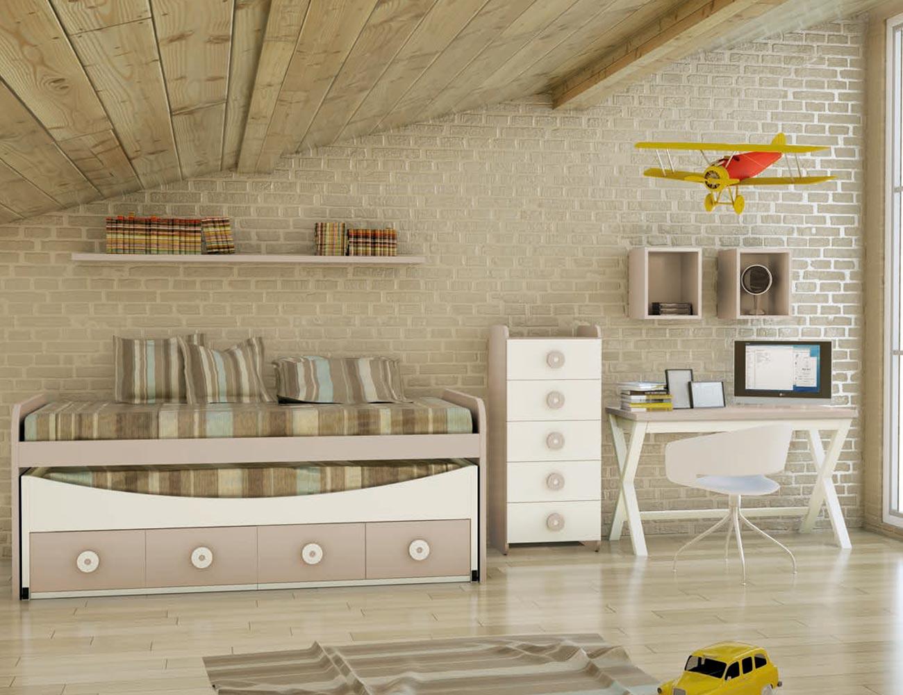 Dormitorio juvenil madera cama nido armario 128