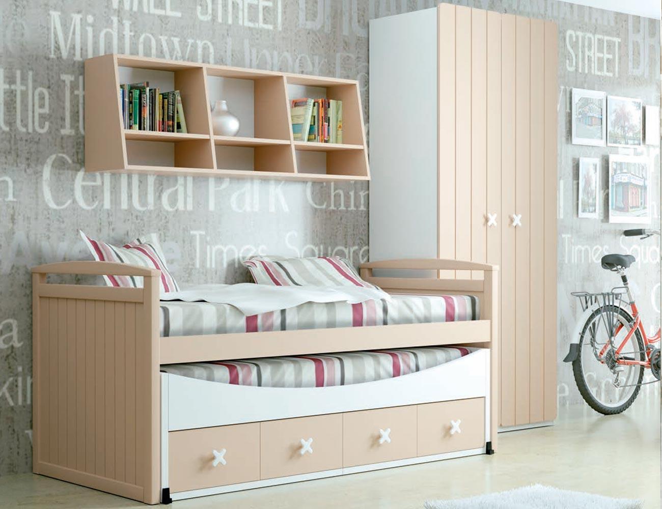 Dormitorio juvenil madera cama nido armario 130