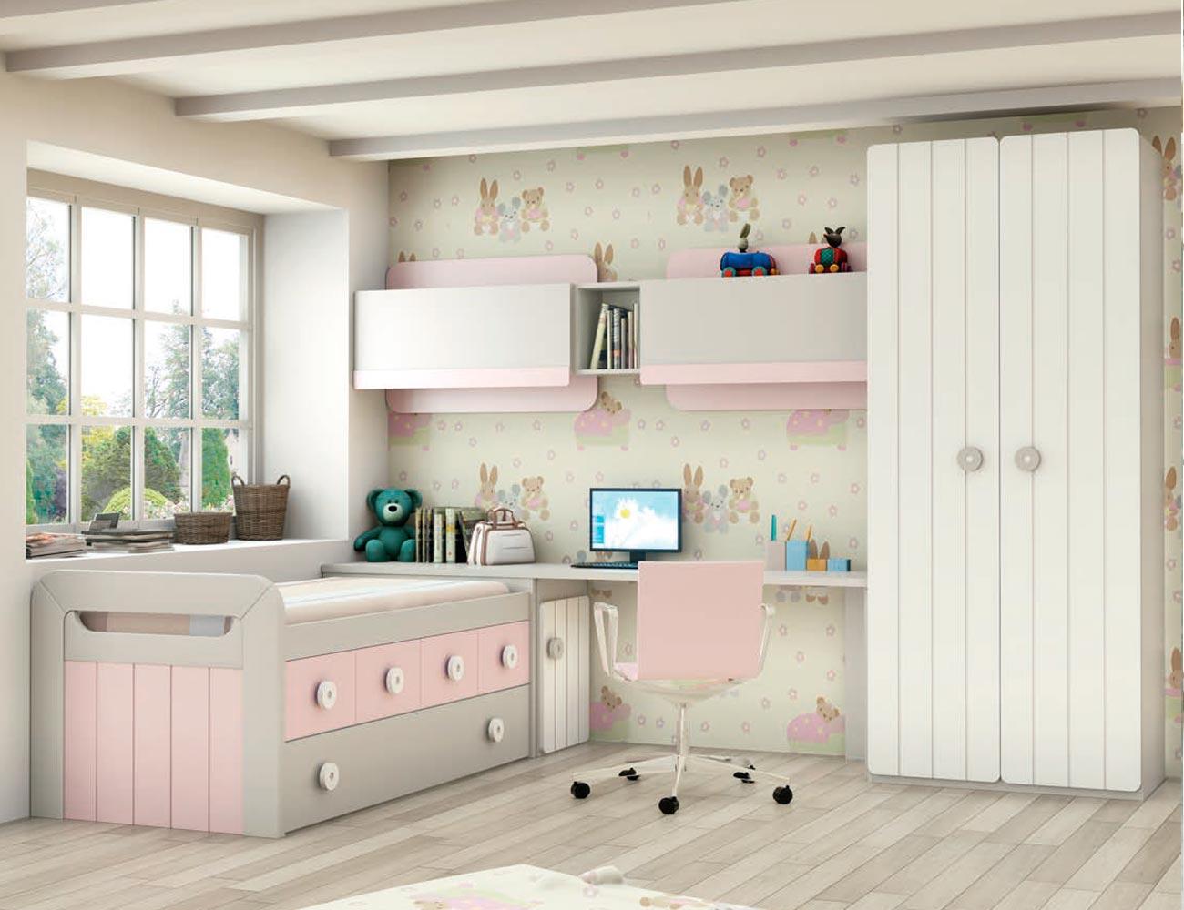 Dormitorio juvenil en madera con cama nido armario 2 for Puertas de madera para dormitorios