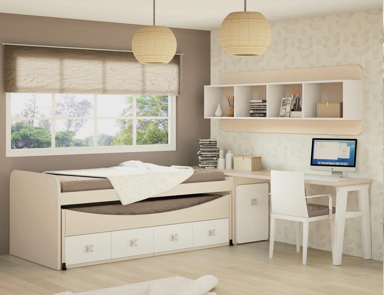 Dormitorio juvenil en madera con cama nido y zona de for Cama nido dormitorio juvenil