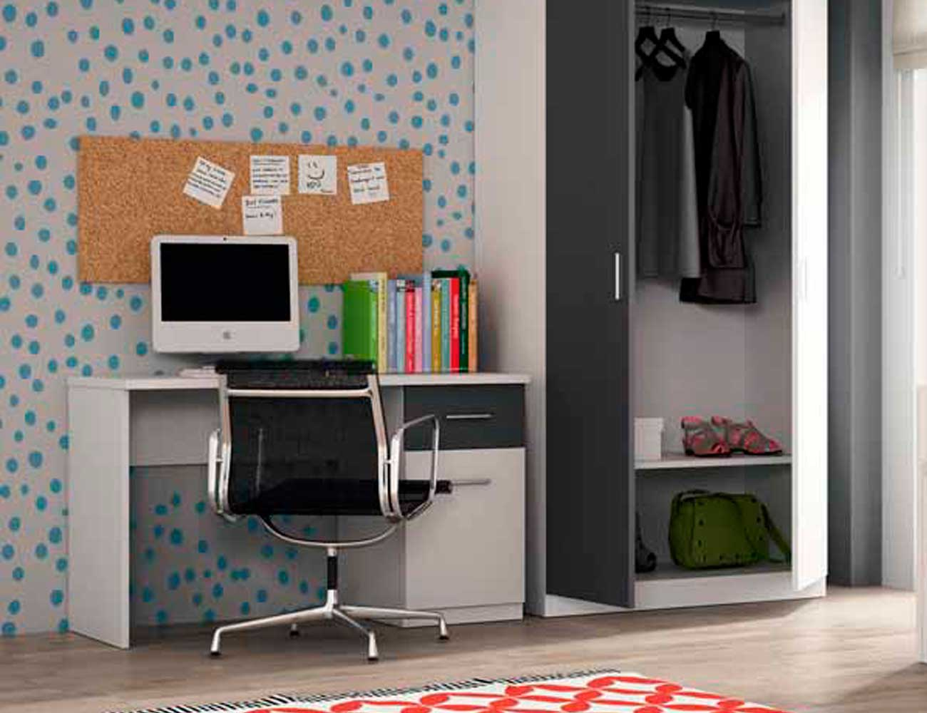 Dormitorio juvenil con cama nido con ruedas en color blanco con azul 6675 factory del mueble - Factory del mueble utrera ...