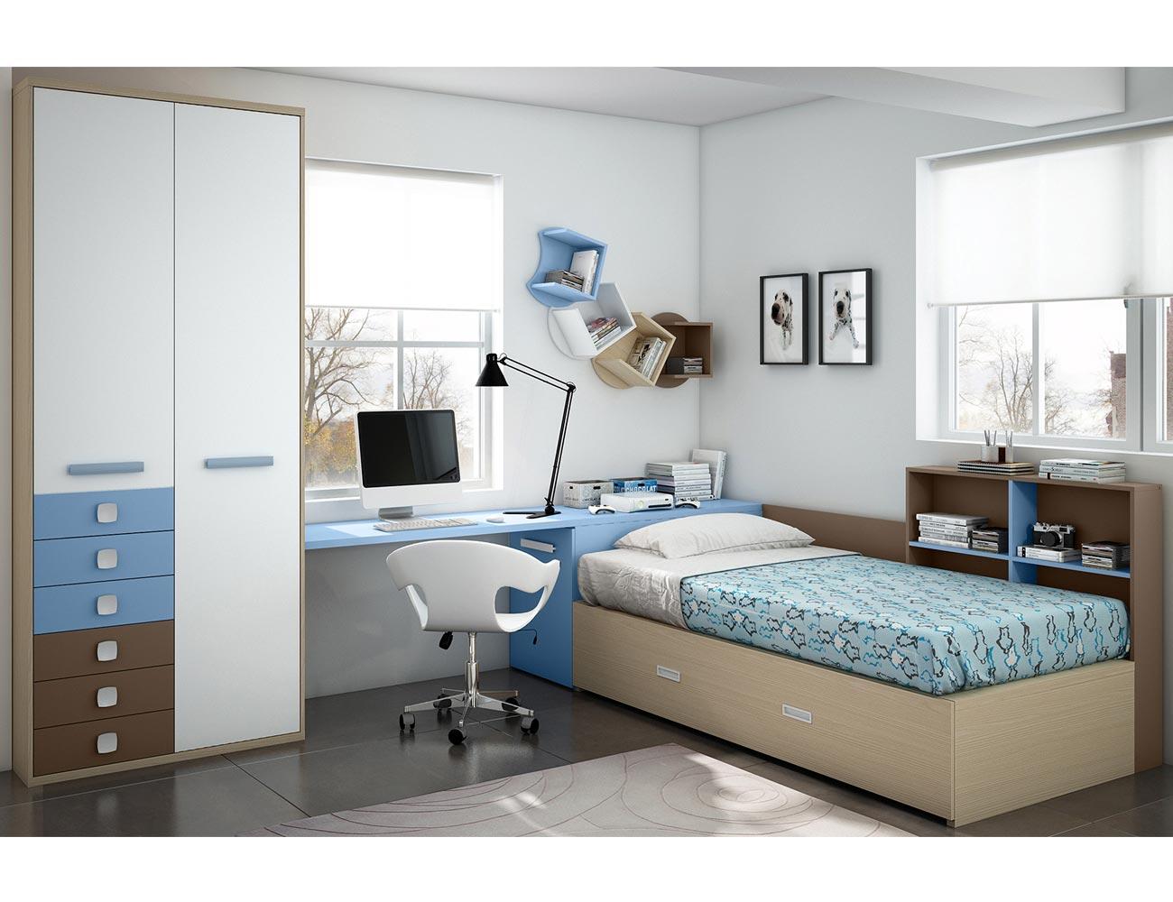 Dormitorio juvenil moderno box cube 6 cajones