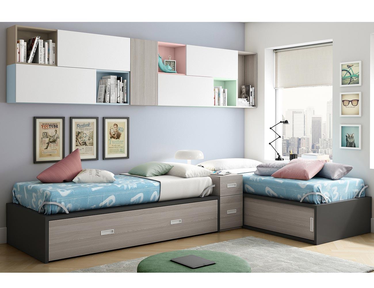 Dormitorio juvenil con dos cama nido dispuestas en l for Dormitorios juveniles dos camas en l