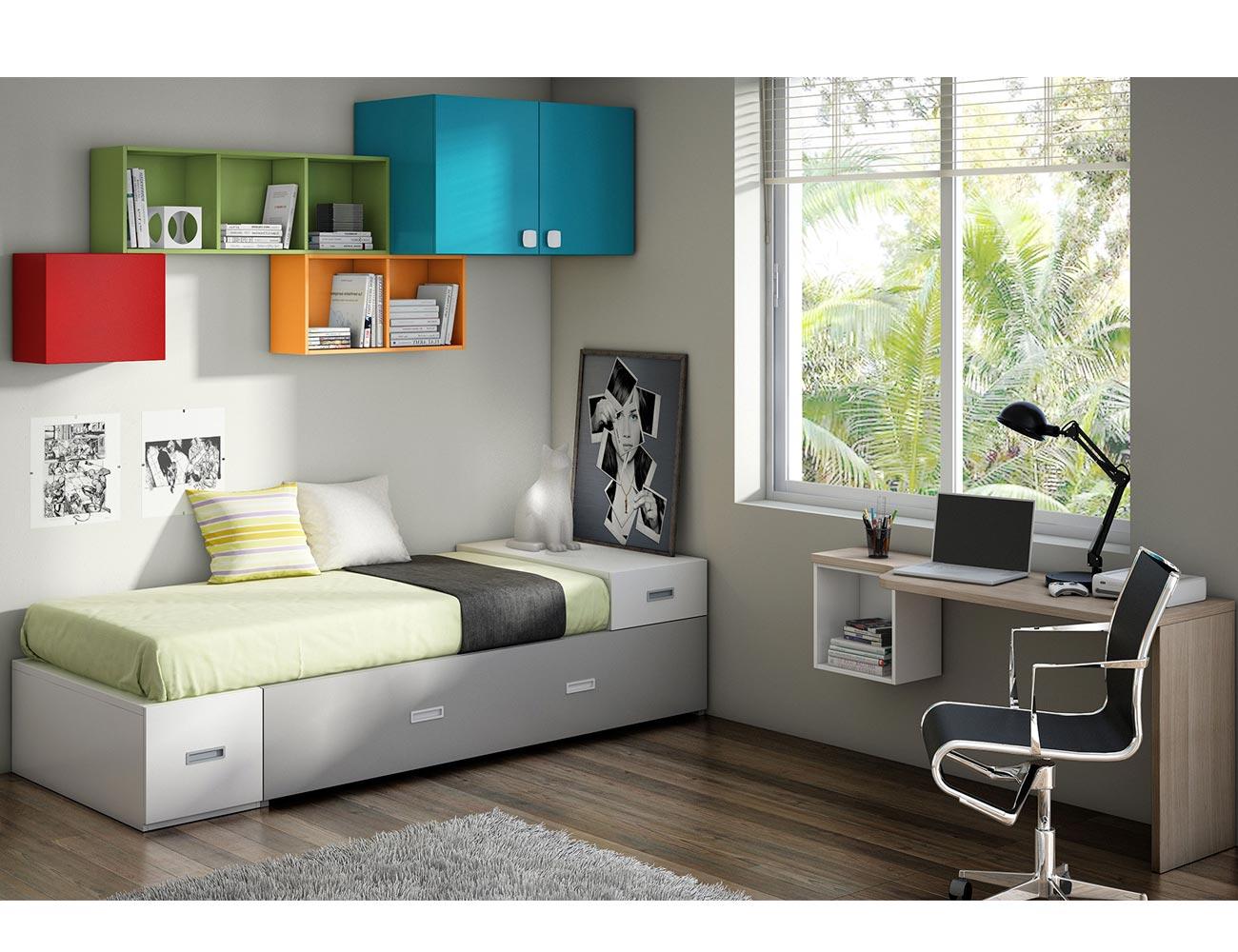 Dormitorio juvenil moderno box cube gris