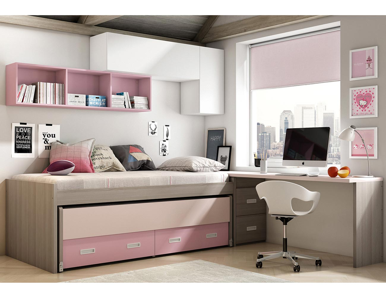 Dormitorio juvenil moderno cama cajones 2