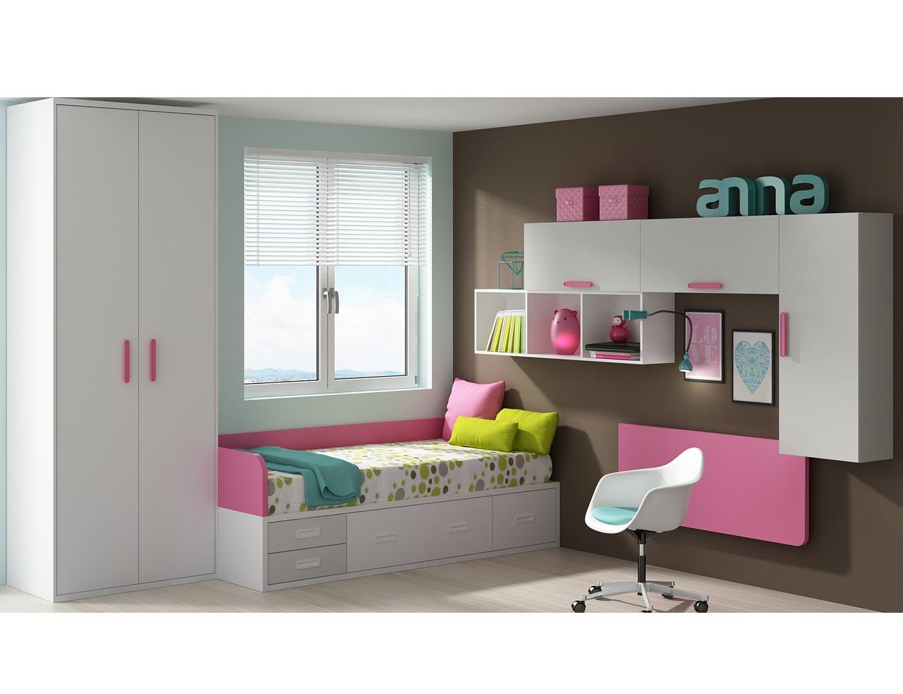 Dormitorio juvenil moderno cama cajones moderno ana