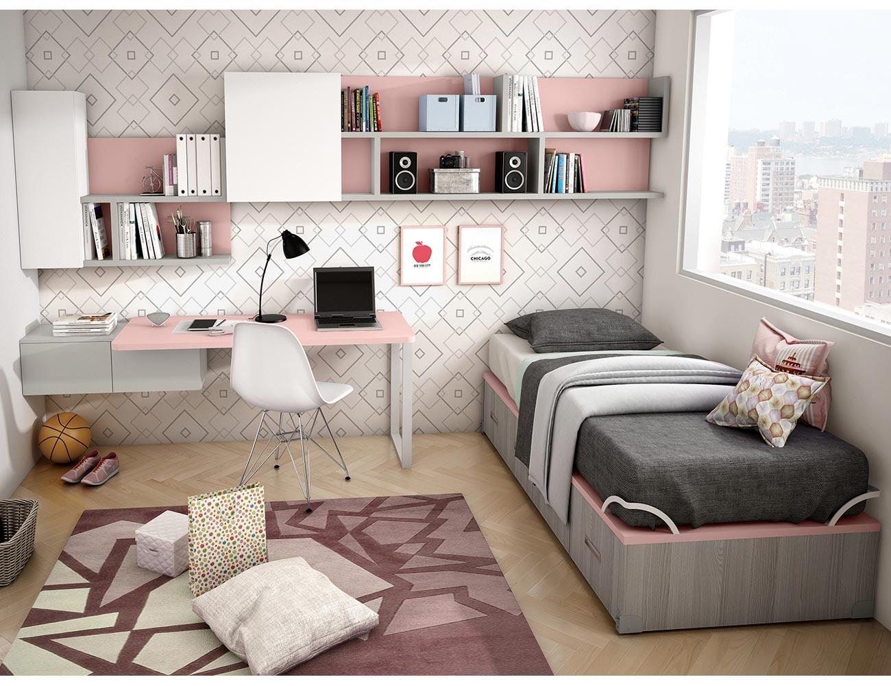 Dormitorio juvenil moderno cama cajones moderno ana2