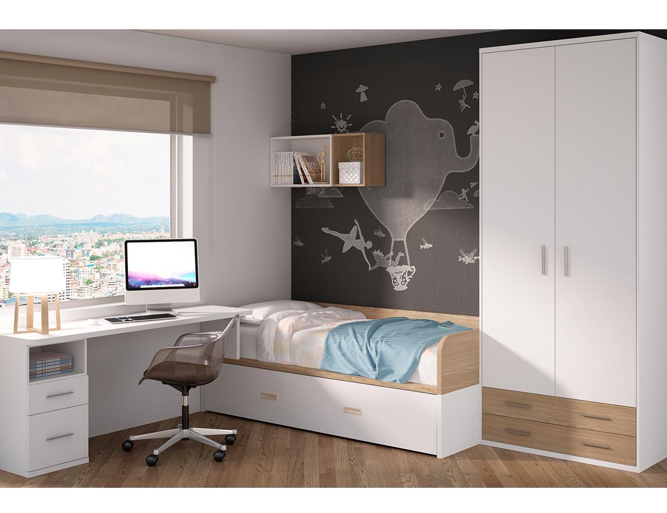Dormitorio juvenil moderno cama cajones moderno roble
