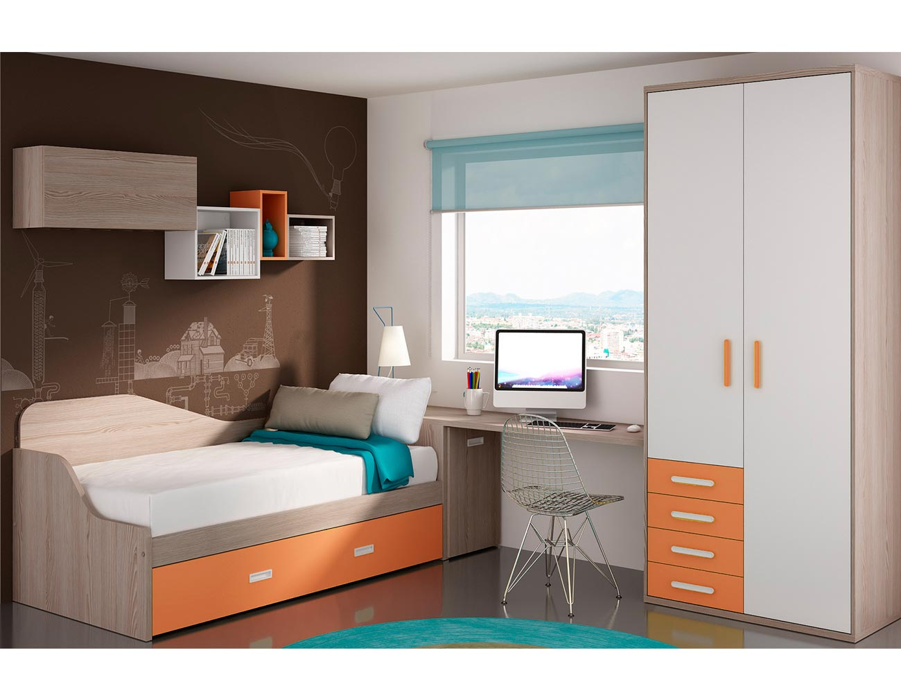Dormitorio juvenil moderno cama cajones moderno