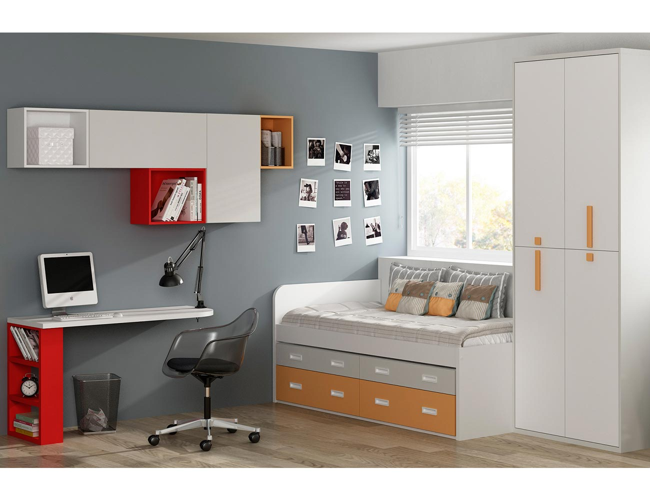 Dormitorio juvenil moderno cama cajones
