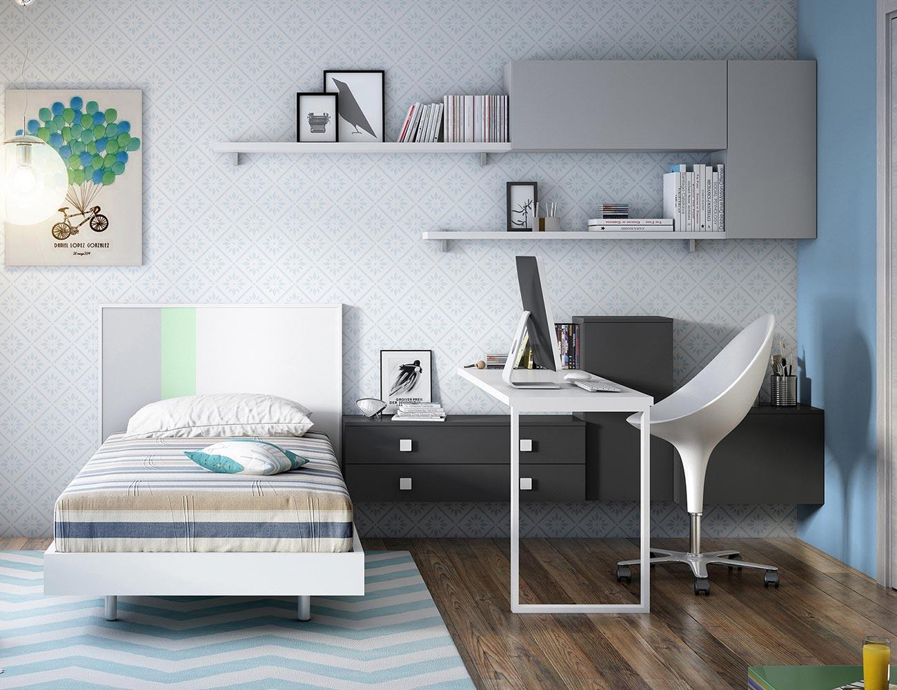 Dormitorio juvenil moderno cama tatami
