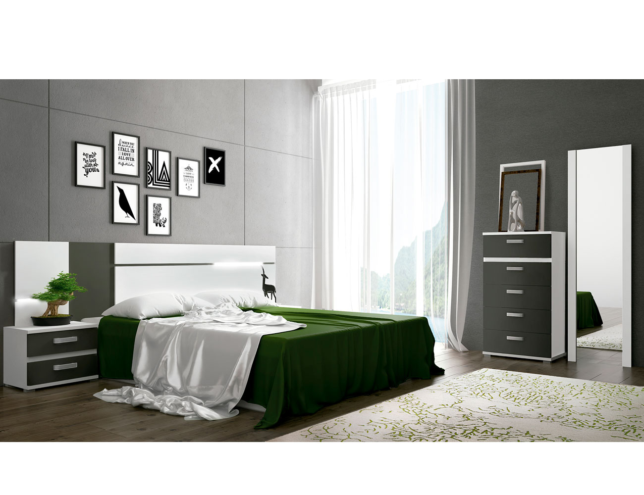 Dormitorio matrimonio blanco grafito cabra 1