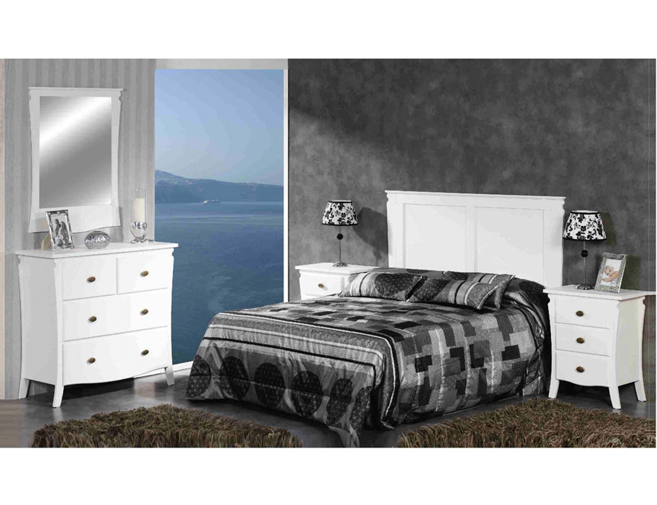 Dormitorio matrimonio blanco lacado madera dm1