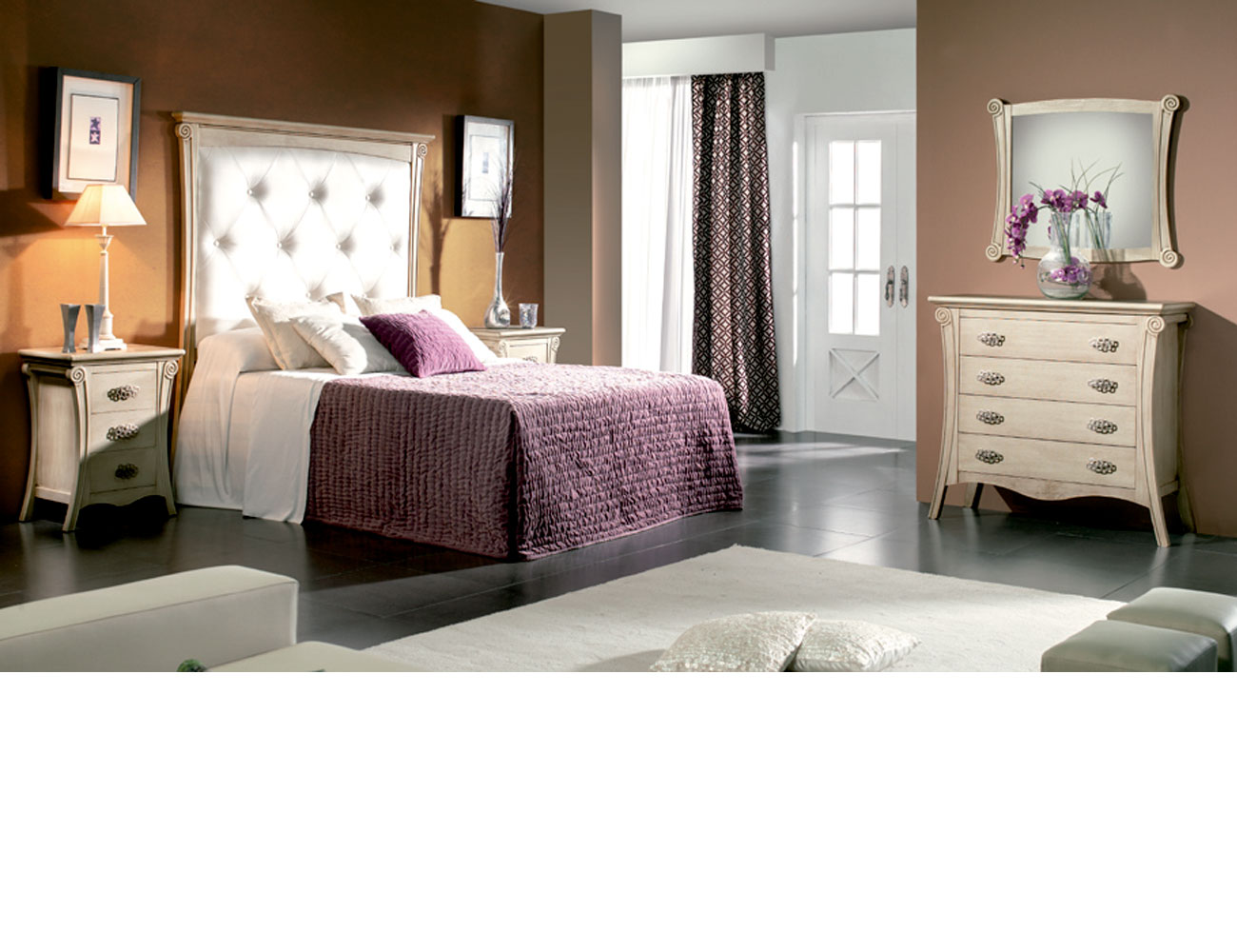 Dormitorio matrimonio cabecero tapizado polipiel color 500 tirador615