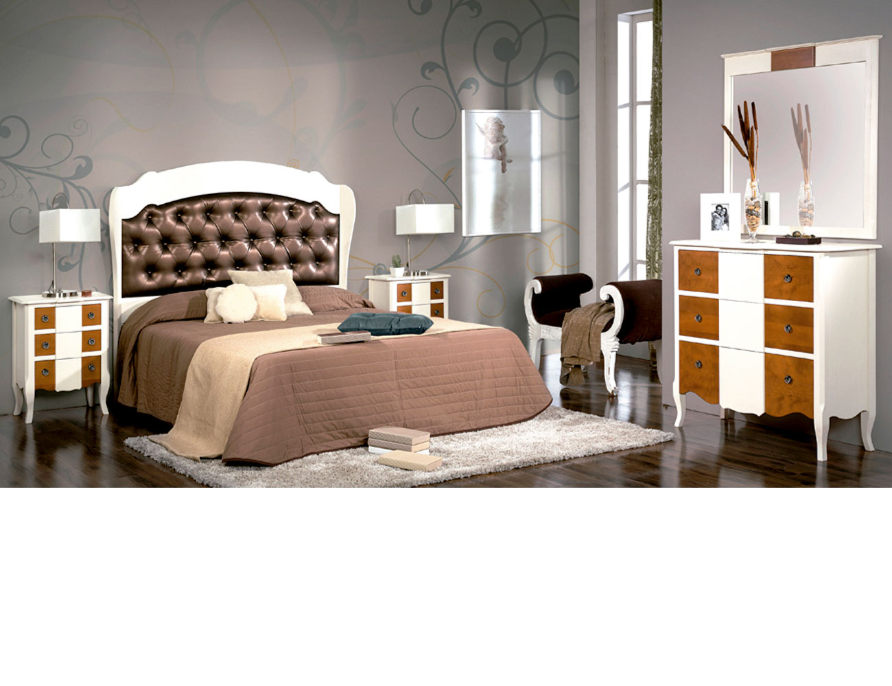 Dormitorio matrimonio cabecero tapizado polipiel comoda1