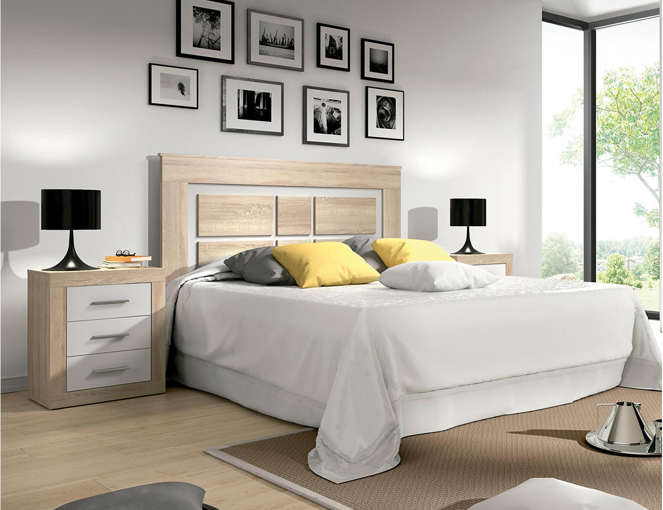 Dormitorio matrimonio estilo moderno cambrian blanco for Dormitorio matrimonio moderno