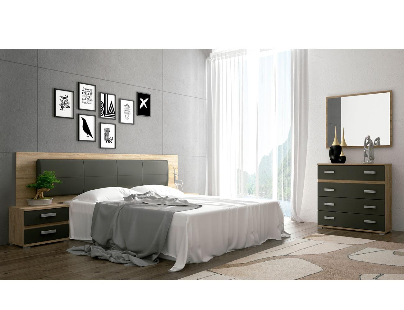 Dormitorio matrimonio cambrian grafito tapizado priego 3