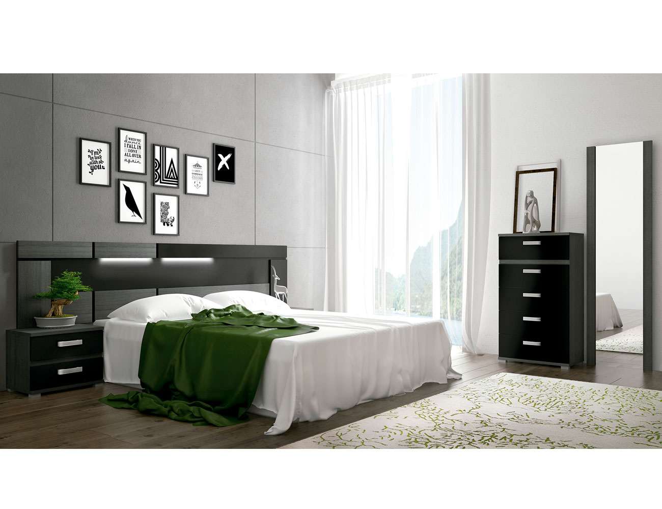 Dormitorio matrimonio ceniza negro cabecero tapizado rambla 1
