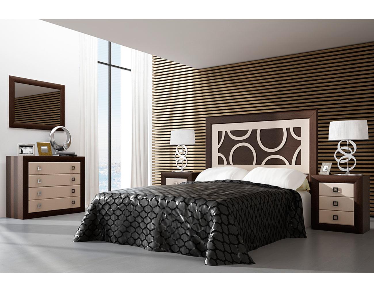 Muebles de dormitorio de matrimonio color nogal con piedra for Muebles de chapa