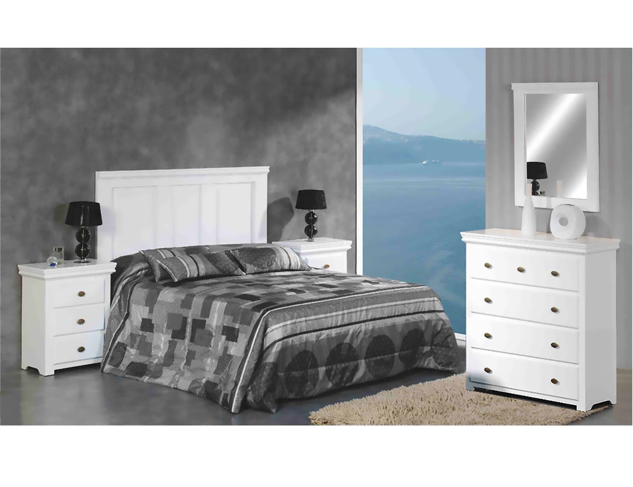 Dormitorio matrimonio comoda 5 c madera dm lacado blanco3