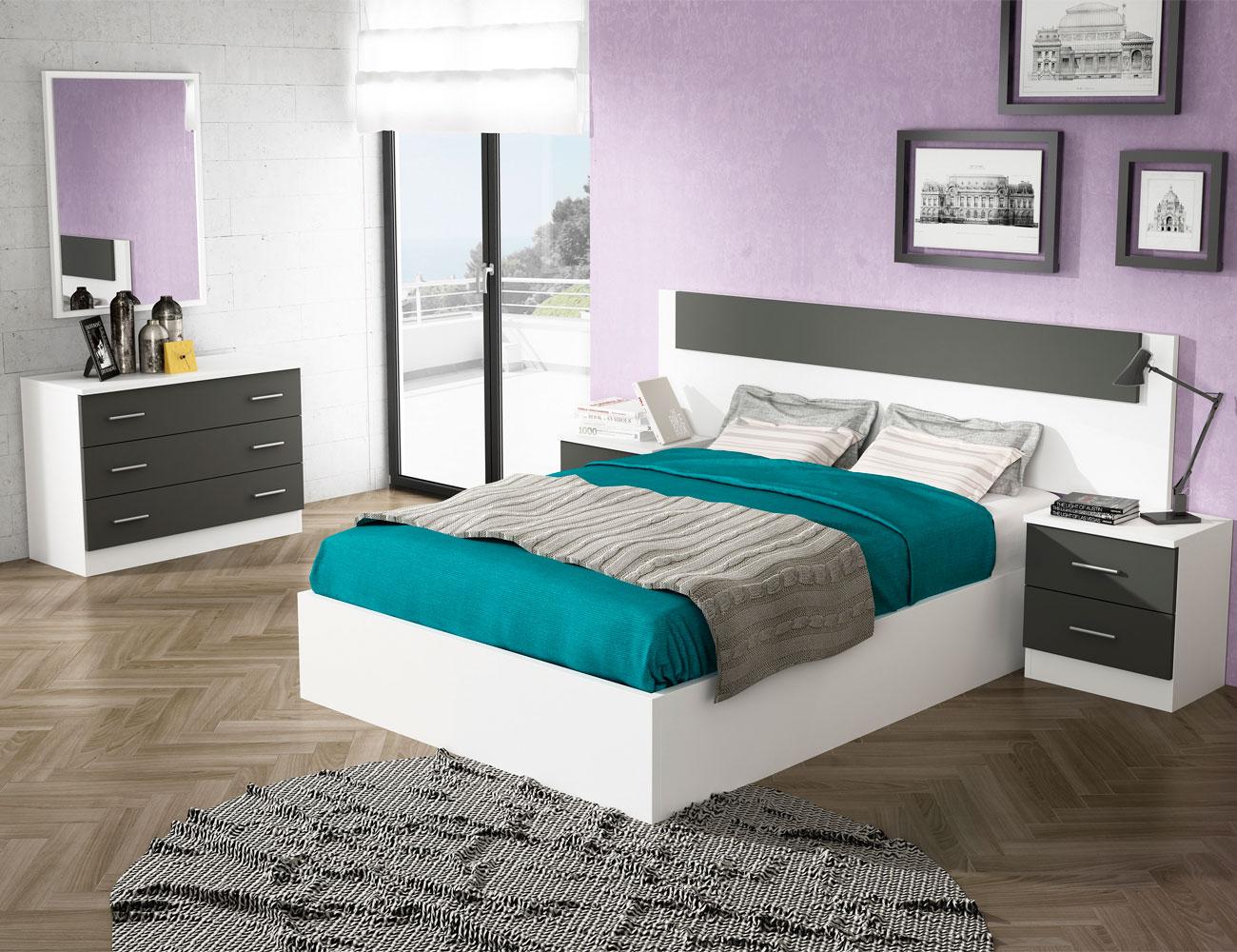 Dormitorio matrimonio estilo moderno pu deva blanco grafito
