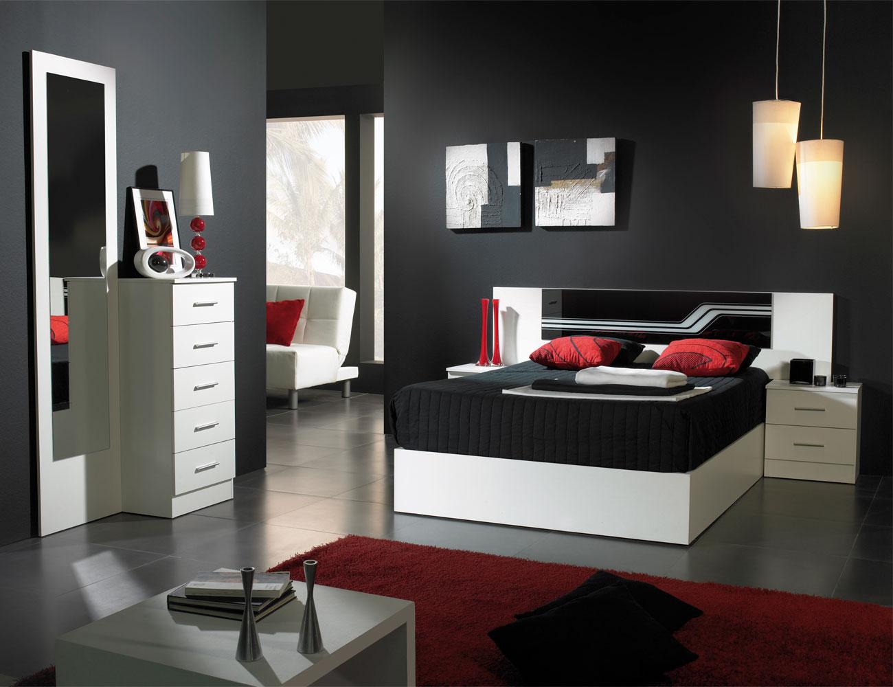 Dormitorio matrimonio estilo moderno buda blanco negro1