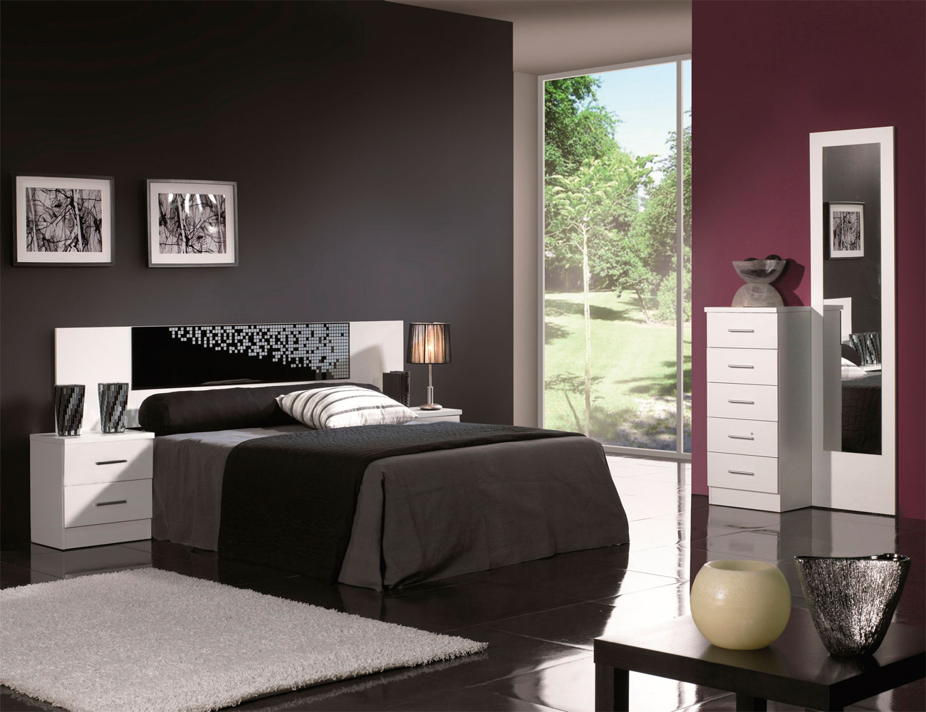Dormitorio matrimonio estilo moderno tibet blanco negro