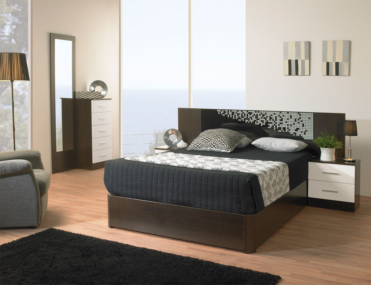 Dormitorio matrimonio estilo moderno tibet wengue negro