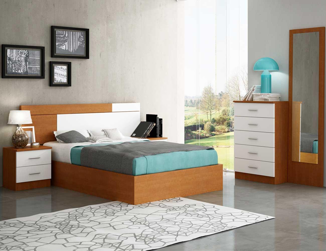 Dormitorio matrimonio estilo moderno turia nogal blanco