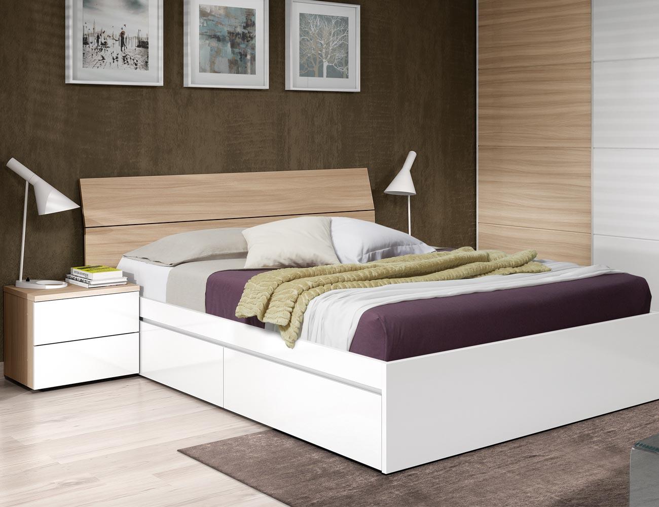Dormitorio matrimonio luces leds roble 1